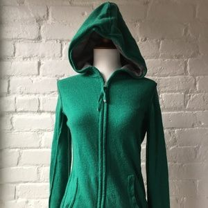 Banana Republic Green Cashmere Blend Zip Hoodie